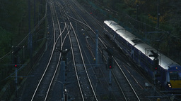 4K Train arriving to Waverley Station in Edinburgh Footage