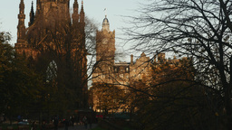 4K Scott Monument, Princes Street Gardens and Balm Footage