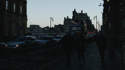 4K North Bridge in Edinburgh, Scotland Footage