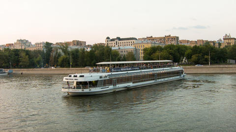 Travel Boat Deploy On The Moscow River, Timelapse stock footage
