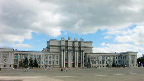 Main square in Samara Russia at summer, timelapse Footage