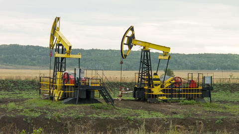 Two oil pumps at work Footage