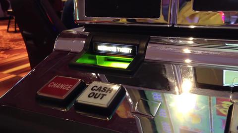 Macro slot machine cash out button inside Hard Roc Footage