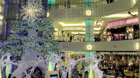 One side of shopping mall with Christmas light was Footage