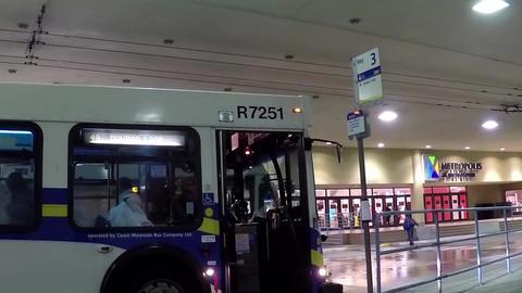 People Running For Taking Bus At Metrotown Bus Sta stock footage