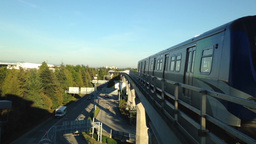 Skytrain commuter rail system at YVR airport stati Footage