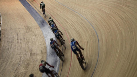 Cycling pursuit competition top view Live Action