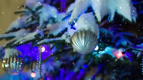 Christmas Ball On New Year Tree stock footage