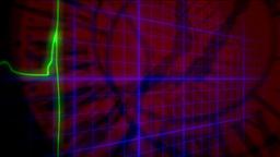 EKG heartbeat 3D crazy clocks Footage