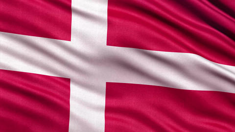 4K Flag of Denmark seamless loop Ultra-HD Animation