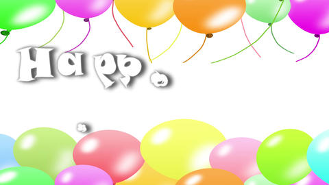 Happy Birthday With Balloon Background stock footage