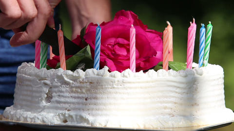 White Cream Cake Cut With A Knife stock footage