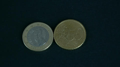 Two 50 Cent Spain Euro Coin Front And Back Detail stock footage