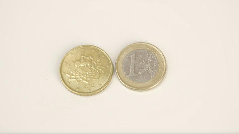 A 2002 Version Of A Goldplated Italy Coin And A 1  stock footage