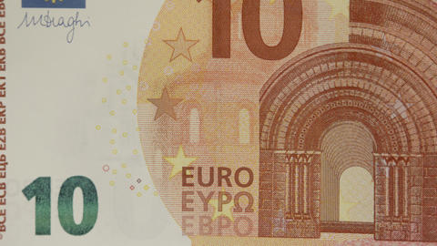 10 Euro bill being zoomed out showing details Footage