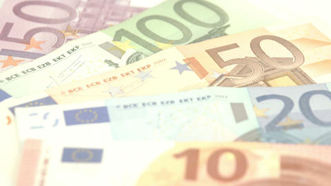 Closer look of the big numbers from the Euro bills Footage