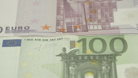 Zoom Out View Of The Two Euro Bills stock footage