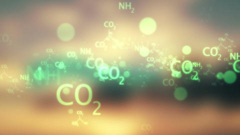 moving green chemical formula on bokeh video backg Animation