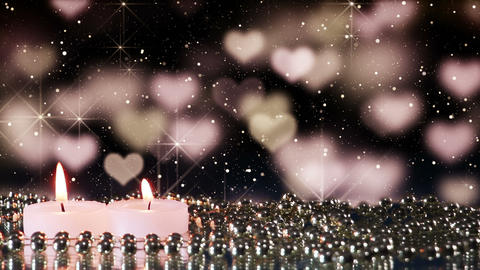 two candles and heart bokeh lights loopable backgr Footage