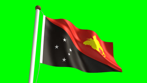 Papua New Guiena flag Animation