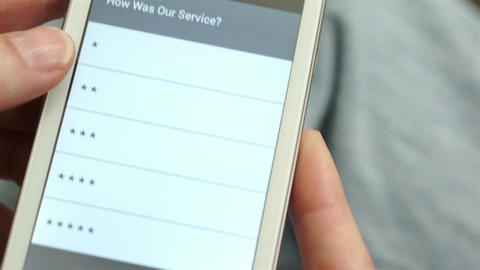 Service Survey On Mobile Phone stock footage