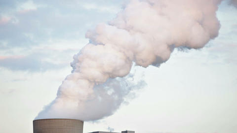 Steaming Cooling Tower In The Evening Footage
