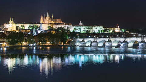 prague castle charles bridge night time laps 11585 Footage