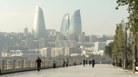 Baku (city Oil-producing States In The Black Sea) stock footage