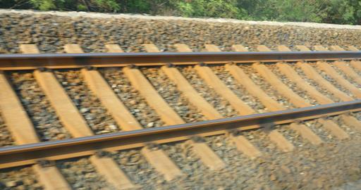 4k Speeding train travel,scenery outside window.train-station rail Footage