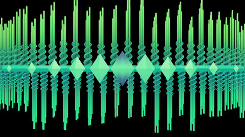 Abstract audio visualizer scrolling waveform beams Animation