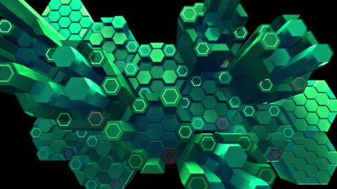 Abstract audio visualizer hexagon clusters thumpin Animation