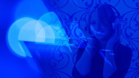 Girl listening music, headphones, music background Footage