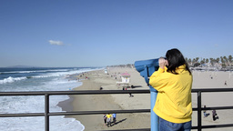 Tourist At Beach stock footage