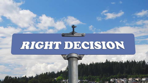 Right decision road sign with time lapse cloud bac Footage