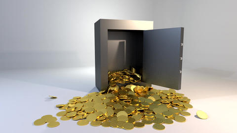 Safe vault opening spilling gold coins golden mone Animation