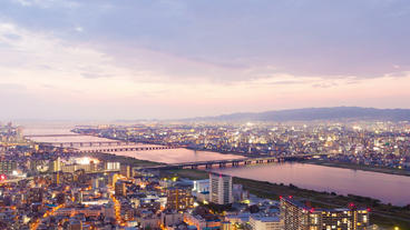 Timelapse Video Of Osaka In Japan At Sunset, Aeria stock footage