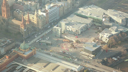 Aerial view of the Federation Square in Melbourne, Footage