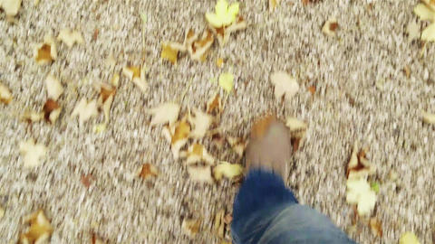 4 K Walking On Autumn Gravel Stone Path Perspectiv stock footage