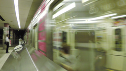 View Of A Train Arriving At The Nihombashi Subway  stock footage