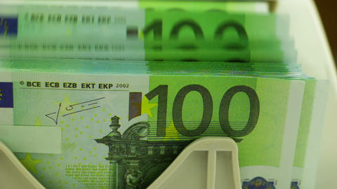 Banknote Counter and Stack of 100 Euro Footage