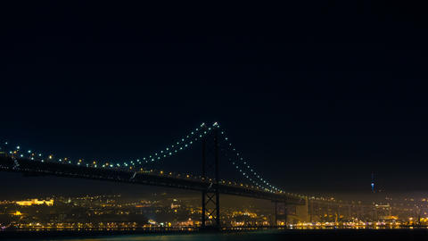 Firework Near The 25 De Abril Bridge In Lisbon Por stock footage