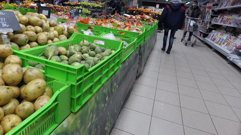 People Buy Vegetables At The Supermarket stock footage