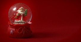 Santa Claus Snow Globe Red 02 stock footage