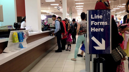 One side of customer service counter inside Sears Footage