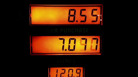 Rising gas prices on station pump screen Footage