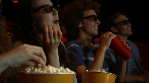 Friends Watching 3d Movie In Cinema stock footage
