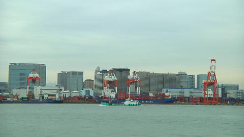 Ship sailing in Tokyo harbour Stock Video Footage