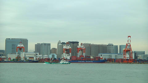 Ship sailing in Tokyo harbour Footage