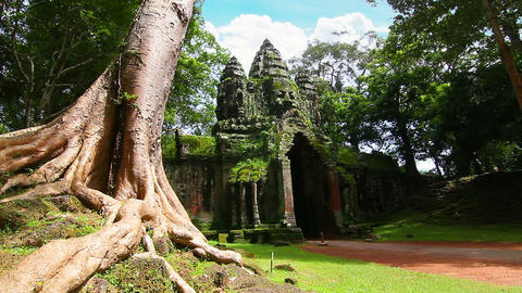 Angkor Thom temple time lapse loop Stock Video Footage