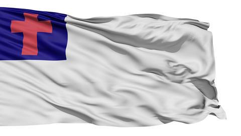 Fluttering White Christian Flag Animation